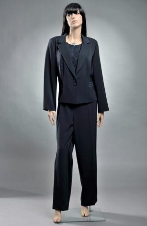 Společenský kalhotový kostým v modré barvě