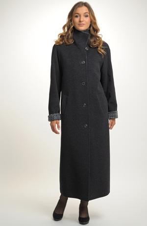 Dámský dlouhý kabát z flauše s kašmírem