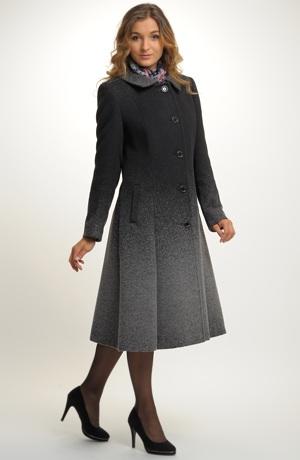 Elegantní jednořadový dlouhý dámský zimní kabát se vzorem