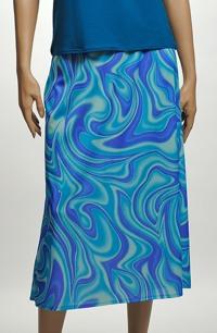 Sukně s potiskem vln v odstínech módní tyrkysové barvy