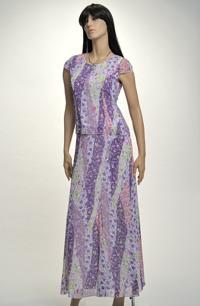 Dlouhé dvoudílné šaty z krešovaného šifonu