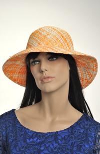 Letní klobouk káro oranžový