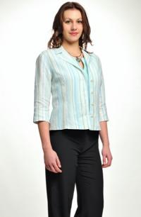 Kabátek ze lnu vhodný na léto v jemném tyrkysovém proužku