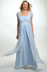 Luxusní šifónové svatební šaty s řasením na předním dílu, i ...