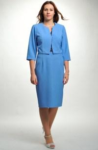 Kostýmek s módní krajkou na šatech a s krátkým kabátkem, vel 38,40,42