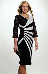 Pouzdrové společenské šaty s krajkovými rukávy pro plnoštíhlé 42, 44, 46, 48, větší velikost XL a XXL.