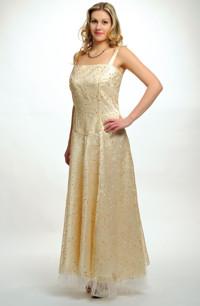 Dlouhé svatební šaty pro boubelky z vyšívané organzy ve vanilkové barvě ve vel. 46, 48, 50
