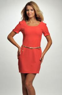 Červené mini šaty z elastické tkaniny zdobené páskem