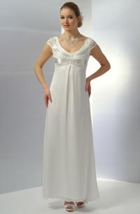 Svatební šaty se zdobeným sedýlkem paprskovitě skládaným