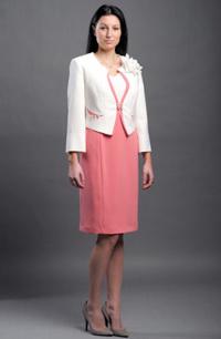 Dámský kostýmek v luxusním provedení bílé a lososové.