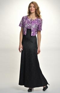 Dlouhé plesové šaty do sedla s biolerkem s našitou ozdobnou stuhou tří barev