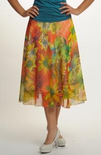 Letní šifónová sukně s módními květy