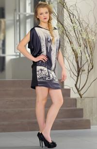 Lehká černobílá tunika - mini šaty