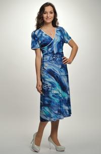 Dámské šaty s řasením - letní šaty pro plnoštíhlé