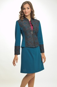 Kombinovaný pletážový kabátek se stojáčkem na zip