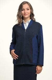 Pletený kabátek pro plnoštíhlé s šálovým límcem