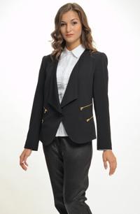 Elegantní dámské černé sako zdobené zlatými zipy
