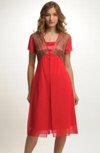 Společenské šaty v módní zlato červené barvě