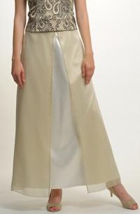 Dlouhá sukně ze zlatavého saténu se šifónem