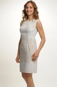 Smetanové společenské mini šaty s plastickým vzorem
