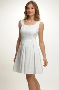 Krátké elastické bílé svatební šaty