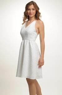Krátké svatební šaty s ramínky za krk. 1e30affb479