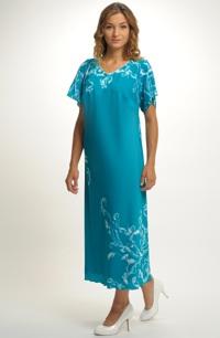 Dlouhé šaty do společnosti pro plnoštíhlé dívky a dámy ve větších velikostech 52, 54 a 56.