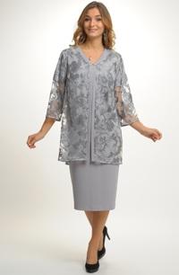 Luxusní společenský model - šaty s kabátkem