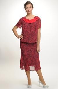 Společenský šifónový top se sukní pro plnoštíhlé