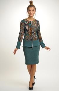 Dámský kombinovaný pletený kabátek se sukní