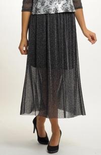 Černá společenská sukně z tylu s metalízovým efektem