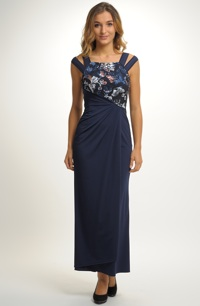 Elegantní plesové večerní šaty zdobené krajkou