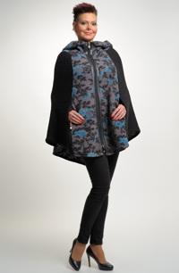 Kabátek - pončo s kapucí zdobený širokým předním dílem