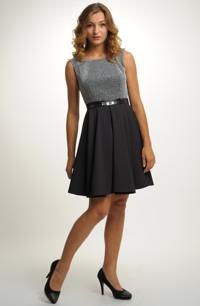 Černé večerní šaty s lesklým živůtkem a řasenou kolovou sukní