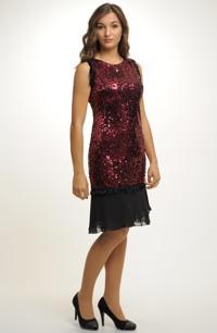 Krátké luxusní šaty na ples zdobené flitry
