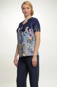 Dámská elastická košilová halenka s květy