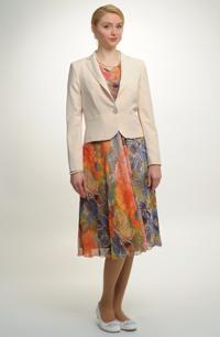 Květované společenské dámské šaty se sakem