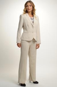 Dámský elegantní kalhotový kostým vhodný i pro plnoštíhlé