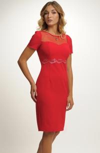 Červené elegantní dámské koktejlové šaty z elastické tkaniny f0b0ee4a7d