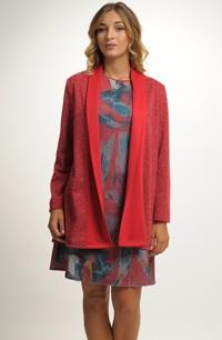 Kabátek z žakárové pleteniny v uni barvě