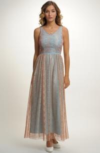 Luxusní společenské šaty s ramínky v jemné pastelové barvě 0cc2fde1e2