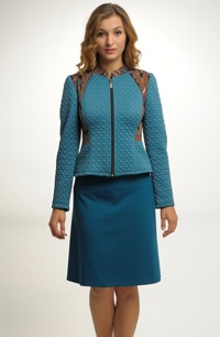 Sportovně elegantní bunda na zip kombinovaná s tkaninou