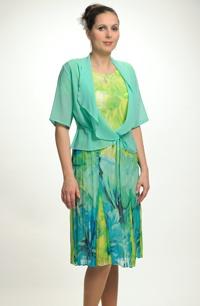 Letní společenské šifónové šaty s kabátkem pro plnoštíhlé postavy, vel. 42, 44,46,48, 50
