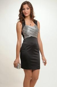 Černé mini šaty na široká ramínka se stříbrným sedlem 6a92606496
