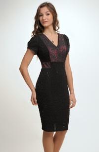 Černo červené elegantní společenské šaty se sedlem z krajky ve velikosti 42.