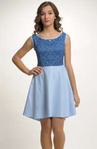 Krátké společenské šaty s živůtkem z plastické tkaniny, vel. 38,40