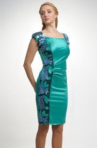 Luxusní šaty z lesklé elastické látky se vzorem, vel. 38, 40.