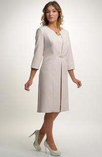 Elegantní pouzdrové šaty s kabátkem pro plnoštíhlé vhodné na svatbu