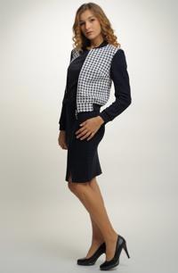 eca55de04ab Dámský pletený kostým se sukní v modré barvě a bundou bomber
