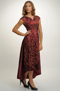 Dlouhé plesové taftové šaty se zvýrazněným pasem na maturitní ples d7ae2d1438